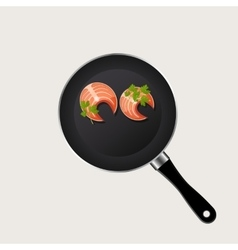 Fish in a pan vector