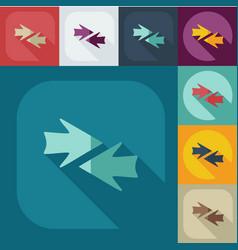 Flat arrow icons business theme vector