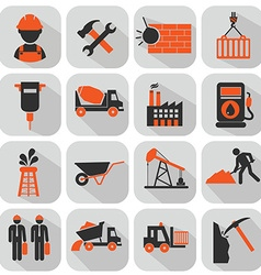 flat construction icon set on colorful background vector image
