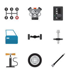 Flat icon auto set of tire muffler automobile vector