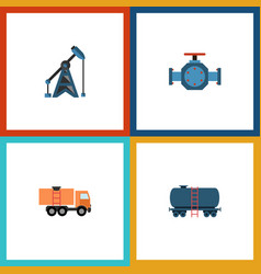 flat icon oil set of van container rig and other vector image