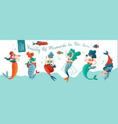 funny mermaids banner vector image