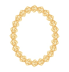 Gold chain rose - oval frame on a white background vector