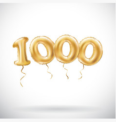 golden number 1000 one thousand metallic balloon vector image