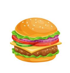 Hamburger or cheeseburger cartoon icon vector