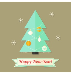 Happy New Year Card with Christmas Tree over Brown vector