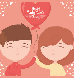 happy valentines day cute young couple vector image