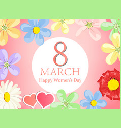 happy women day greeting card- floral greeting vector image