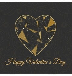 Heart symbol shape with golden triangles on white vector