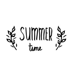 Hello summer - hand drawn brush text handmade vector