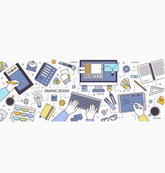 Horizontal banner with hands of designer working vector