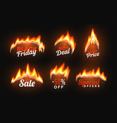 hot sale badges with fire flame special offer vector image