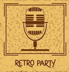 Invitation to retro party with microphone vector