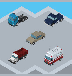 Isometric car set of suv first-aid truck and vector