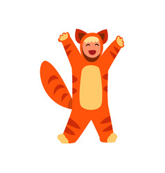 Kid wearing in costume of red cat masquerade vector
