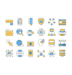 linear color icon set 3 - internet technology vector image