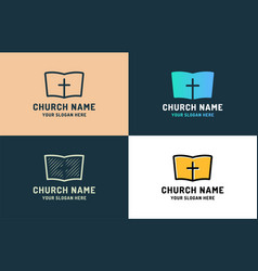 logo for religious community holy bible icon with vector image