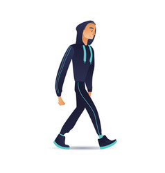 man sportsman in sport suit walking vector image