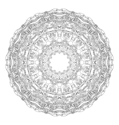 Mandala shaped contoured birds flowers leaves vector image