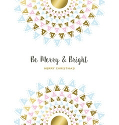 Merry Christmas gold tribal mandala art design vector