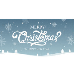 Merry christmas happy new year calligraphy sign vector