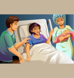 midwife helping delivering a baby vector image