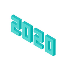 mint 2020 numbers isometric object vector image