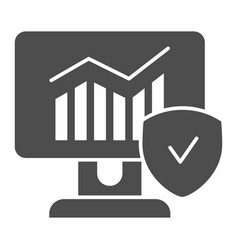 monitor with graph and checkmark solid icon vector image