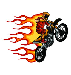 Motorcycle with fire and flames vector