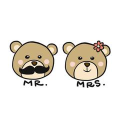 mr and mrs bear cartoon vector image