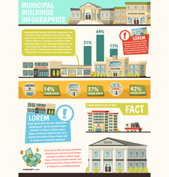 Orthogonal municipal buildings infographics vector