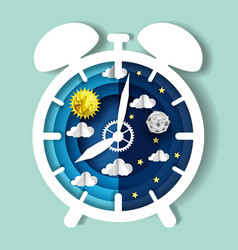 paper cut craft style clock with day and night sky vector image