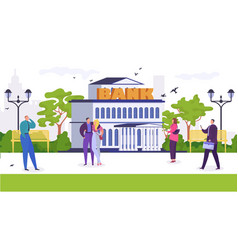 people walk in park near bank vector image