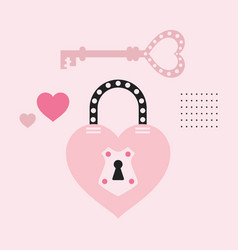 Pink cute cartoon dotted heart shape key and lock vector