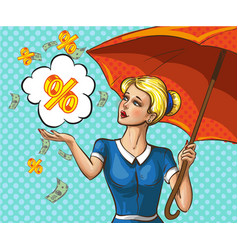 Pop art lady with umbrella under money rain vector