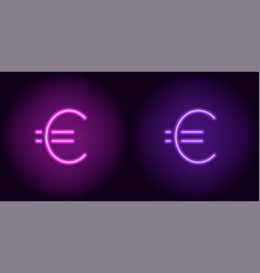Purple and violet neon euro sign vector