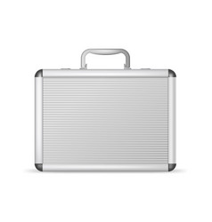 realistic 3d detailed blank aluminum suitcase vector image