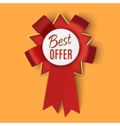 Realistic red fabric award ribbon vector image