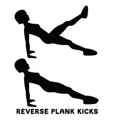 reverse plank kicks reverse plank sport exersice vector image
