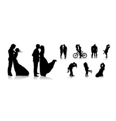 romantic couples silhouettes love couple vector image