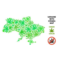 Royalty free cannabis leaves collage ukraine map vector