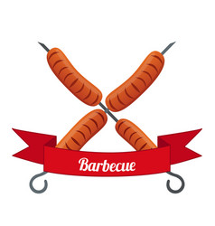 Sausage logo label for menu flat style vector