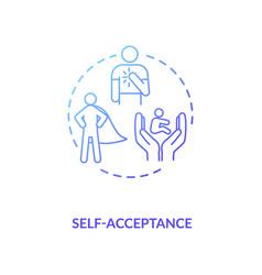 Self acceptance blue gradient concept icon vector