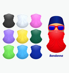 set bandanna realistic or bandanna for biker vector image