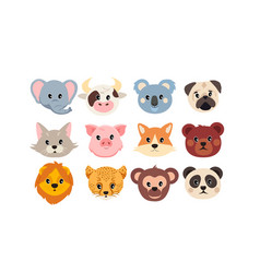 set cute animal faces on white background vector image
