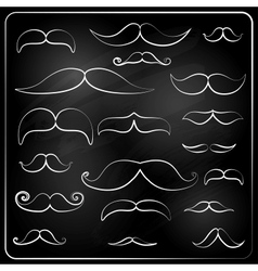 Set moustaches drawn with chalk vector