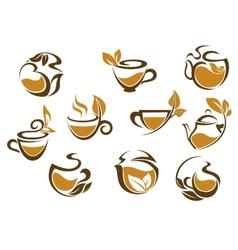 Set of herbal tea icons vector