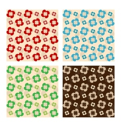 Set Of Seamless Patterns Flowers Made Of Drops vector image