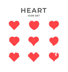 set red icons heart and love concept vector image