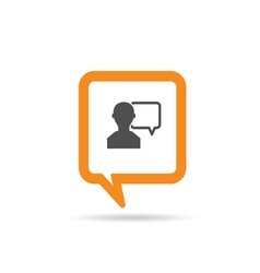 square orange speech bubble with man two vector image